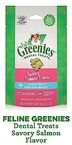 Feline Greenies Dental Treats Savory Salmon Flavor, Salmon Cat Treats, Greenies for Cats, Kitty