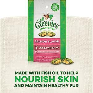 Fish Oil, Skin Health, Healthy Coat, Salmon Cat Treats, Feline Greenies, Greenies for Cats, Healthy