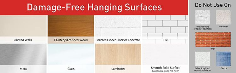 approved surfaces: painted walls, wood, cinder block; tile; metal; glass; laminate; smooth surface