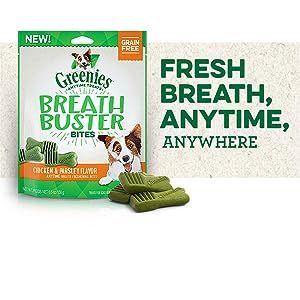 Fresh Breath Anytime Anywhere, Greenies Breath Buster Dog Treats, Chicken Flavor, Grain Free Treats
