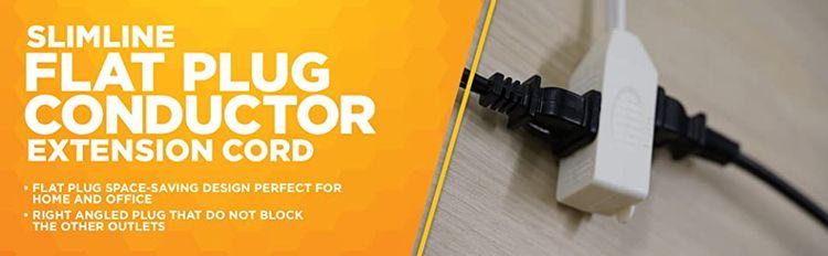 Indoor flat plug extension cord