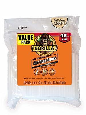 Gorilla Hot Glue Stick 4 inch full size 45 count