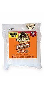 Gorilla full size hot glue gun sticks hi low temp melt