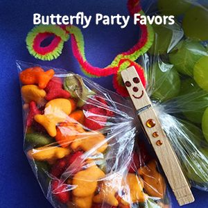 Goldfish cheese crackers butterfly party favors