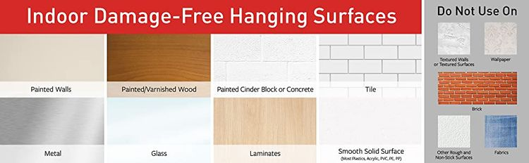 Indoor Damage-Free Hanging Surfaces