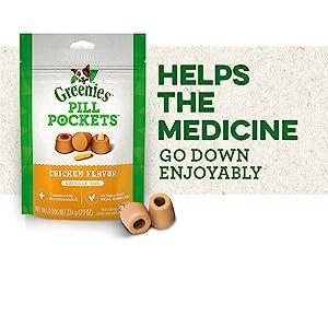 Helps the Medicine Go Down Enjoyably, Greenies Pill Pockets Dog Treats, Medication, Chicken Flavor