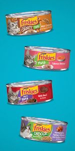 Four cans of cat food