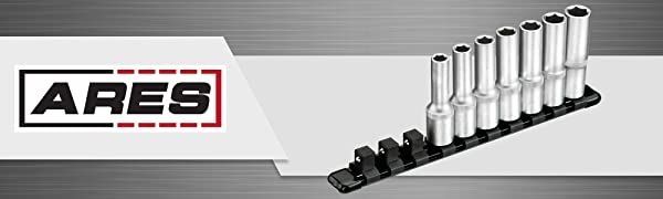 1/2 inch Drive black 9.84 inch Aluminum Socket Rail to Store up to 10 Sockets