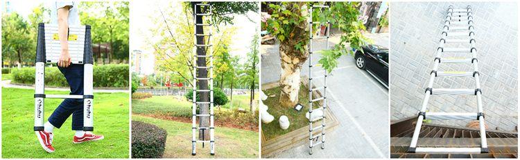 12.5 FT Telescoping Ladder Aluminum Collapsible Ladder Telescopic Extension Ladder