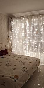 coldwhite string curtain lights