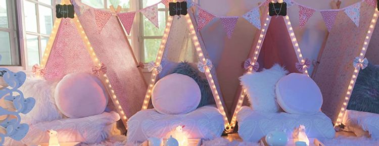 teepees projects with string lights wrapping