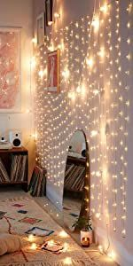 warmwhite string curtain lights