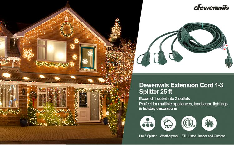 Outdoor Extension Cord 1 to 3 Splitter 3 Prong Outlets Plugs with Safety Cover